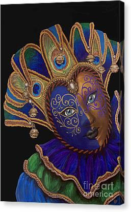 Carnival Peacock Jester Canvas Print by Patty Vicknair