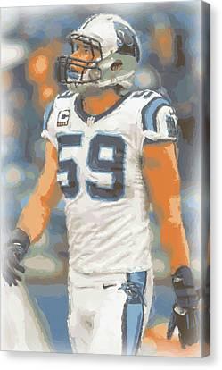 Carolina Panthers Luke Kuechly Canvas Print by Joe Hamilton