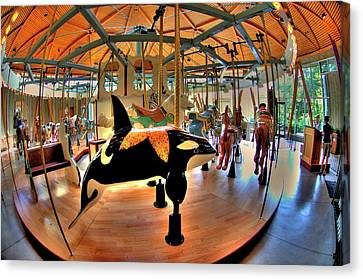Carousel 2 At The Butchart Gardens Canvas Print by Lawrence Christopher
