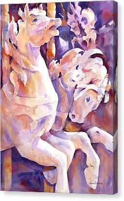 Carousel Horses Canvas Print by Joan  Jones