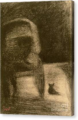 Carriage And Dog Canvas Print by Georges Pierre Seurat