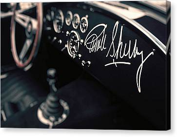 Carroll Shelby Signed Dashboard Canvas Print by Paul Bartell