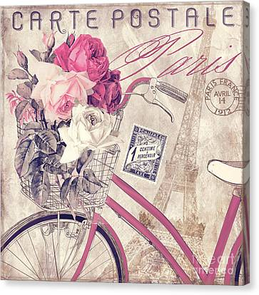 Carte Postale Bicycle Canvas Print by Mindy Sommers