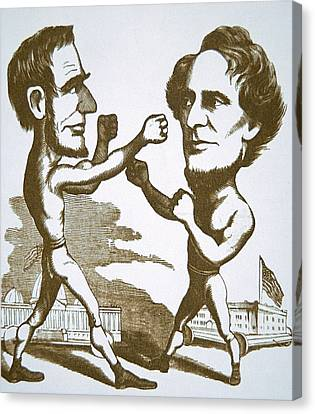 Cartoon Depicting Abraham Lincoln Squaring Up To Jefferson Davis Canvas Print by American School