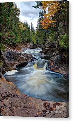 Cascade Falls North Shore Of Lake Superior Minnesota Canvas Print by Wayne Moran