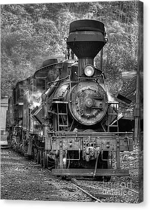 Cass Railroad Engine No 6 Bw Canvas Print by Jerry Fornarotto