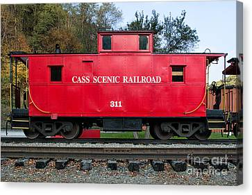 Cass Red Caboose Canvas Print by Jerry Fornarotto