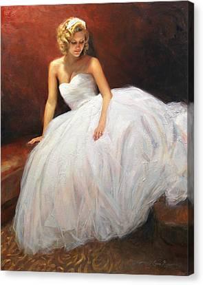 Cassie On Her Wedding Day Canvas Print by Anna Rose Bain