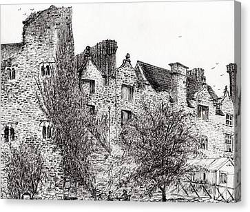 Castle Ruins At Hay On Wye Canvas Print by Vincent Alexander Booth