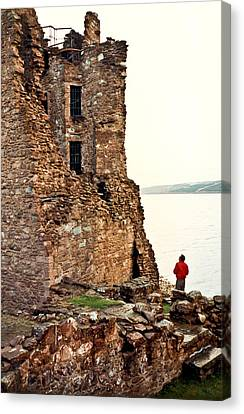 Castle Ruins On The Seashore In Ireland Canvas Print by Douglas Barnett