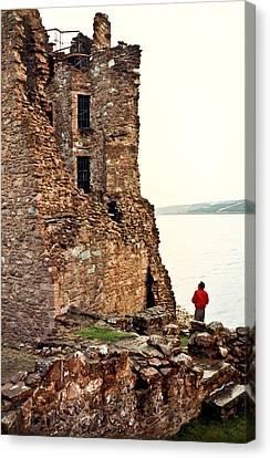 Castle Ruins On The Seashore In Ireland Canvas Print by Douglas Barnett