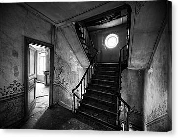 Castle Stairs - Abandoned Building Bw Canvas Print by Dirk Ercken