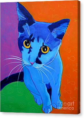 Cat - Kitten Blue Canvas Print by Alicia VanNoy Call