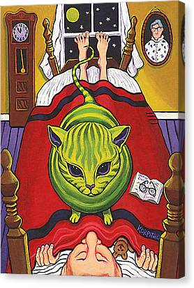 Cat - Alien Abduction Canvas Print by Rebecca Korpita