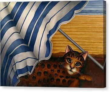 Cat At Beach Canvas Print by Carol Wilson