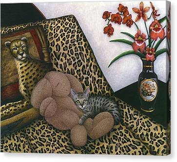 Cat Cheetah's Bed Canvas Print by Carol Wilson