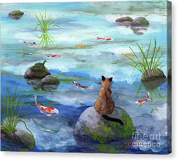 Cat Koi And Turtle Among The Cloud Reflections Canvas Print by Laura Iverson