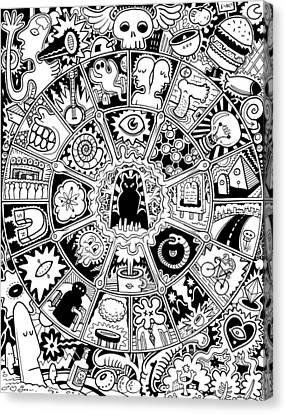 Cat Mandala Black And White Canvas Print by Larry Carey