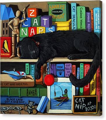 Cat Nap - Orginal Black Cat Painting Canvas Print by Linda Apple