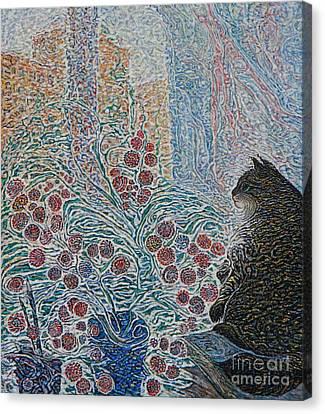Cat On My Window Canvas Print by Anna Yurasovsky
