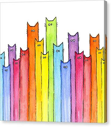 Cat Rainbow Pattern Canvas Print by Olga Shvartsur