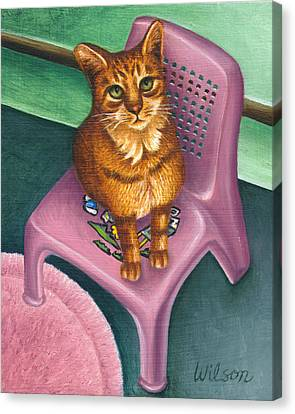 Cat Sitting On A Painted Chair Canvas Print by Carol Wilson