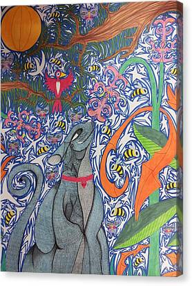 Cat Smelling A Flower 3 Canvas Print by William Douglas