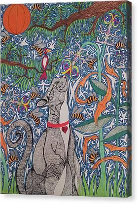 Cat Smelling Flower Canvas Print by William Douglas