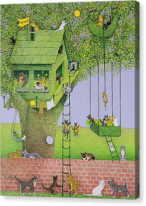 Cat Tree House Canvas Print by Pat Scott