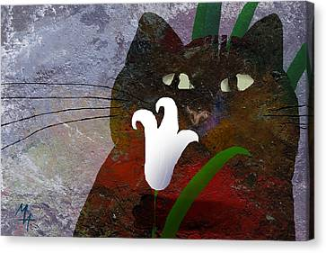 Cat With Lily Canvas Print by Attila Meszlenyi