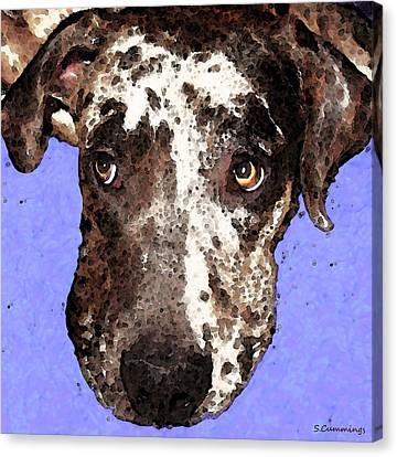 Catahoula Leopard Dog - Soulful Eyes Canvas Print by Sharon Cummings