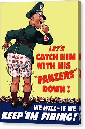 Catch Him With His Panzers Down Canvas Print by War Is Hell Store