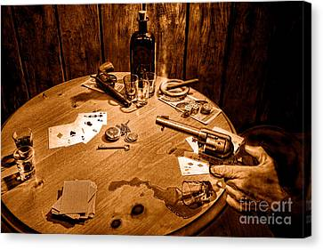 Catching A Cheater -sepia Canvas Print by Olivier Le Queinec