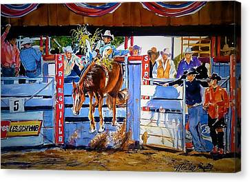 Catching Air At Springville Rodeo Canvas Print by Therese Fowler-Bailey