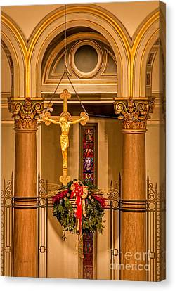 Cathedral Of The Sacred Heart Crucifix Canvas Print by Jemmy Archer
