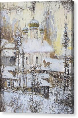 Cathedral Over The Snowy Village Canvas Print by Ilya Kondrashov
