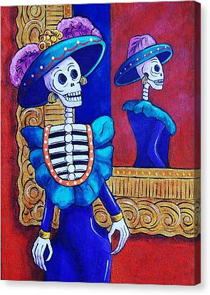 Catrina In The Mirror Canvas Print by Candy Mayer