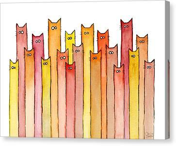 Cats Autumn Colors Canvas Print by Olga Shvartsur