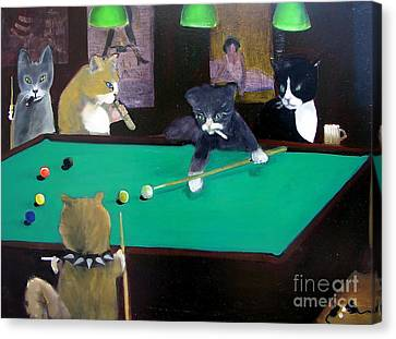 Cats Playing Pool Canvas Print by Gail Eisenfeld