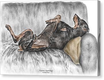 Caution Guard Dog - Doberman Pinscher Print Color Tinted Canvas Print by Kelli Swan