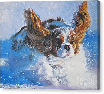 Cavalier King Charles Spaniel Blenheim In Snow Canvas Print by Lee Ann Shepard