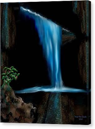 Cave Waterfall Canvas Print by Tanya Van Gorder