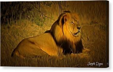 Cecil The Lion - Da Canvas Print by Leonardo Digenio