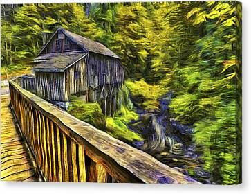 Cedar Creek Grist Mill Van Gogh Canvas Print by Mark Kiver