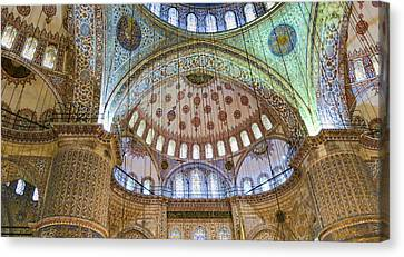 Ceiling Of Blue Mosque Canvas Print by Phyllis Taylor