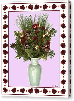 Celadon Vase With Christmas Bouquet Canvas Print by Lise Winne