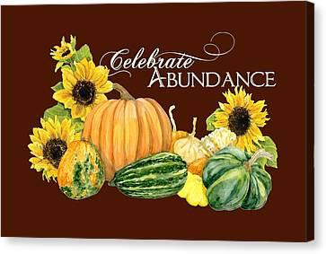 Celebrate Abundance - Harvest Fall Pumpkins Squash N Sunflowers Canvas Print by Audrey Jeanne Roberts