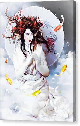 Celestial Koi Geisha Canvas Print by Shanina Conway