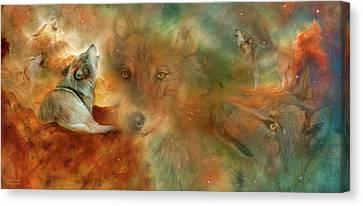 Celestial Wolves Canvas Print by Carol Cavalaris