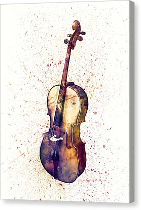 Cello Abstract Watercolor Canvas Print by Michael Tompsett